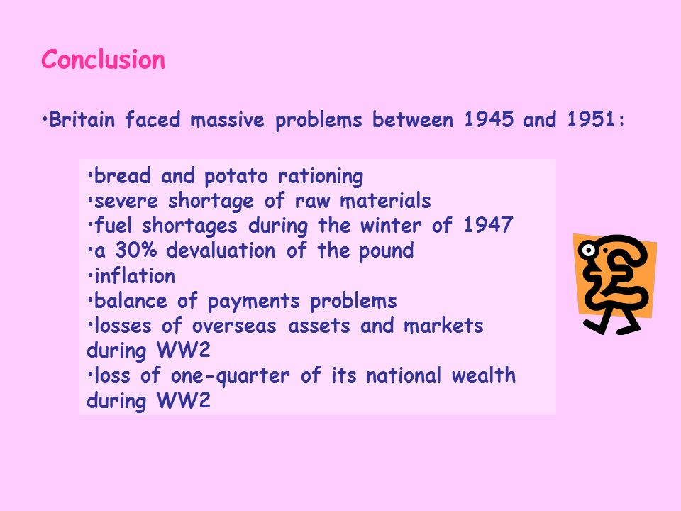 Conclusion Britain faced massive problems between 1945 and 1951: