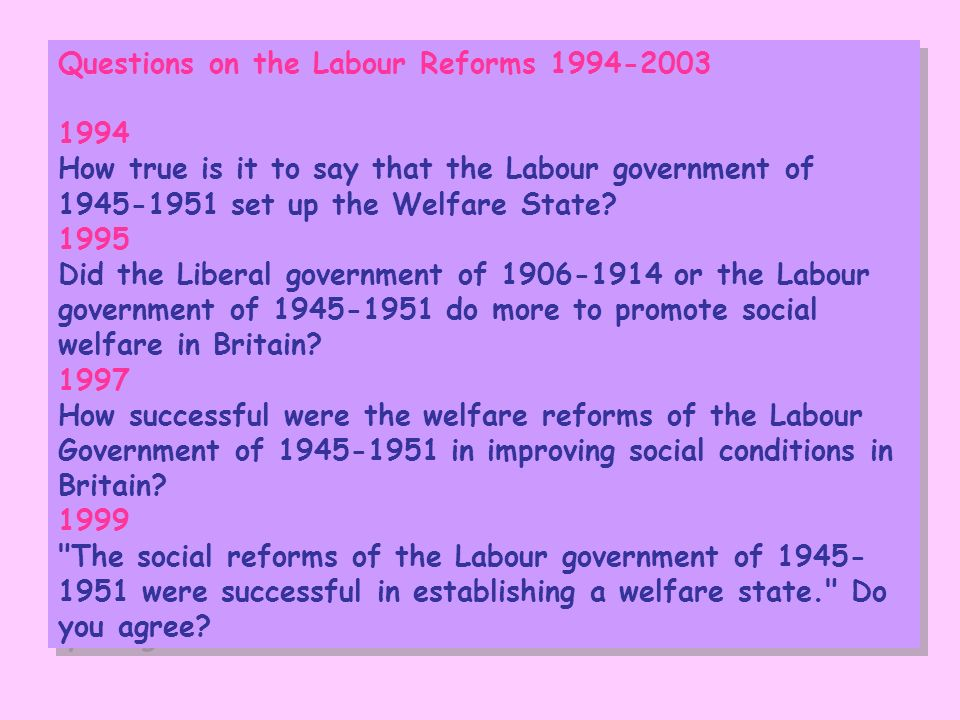 Questions on the Labour Reforms 1994-2003