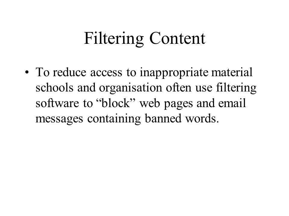 Filtering Content