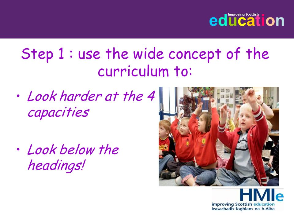 Step 1 : use the wide concept of the curriculum to: