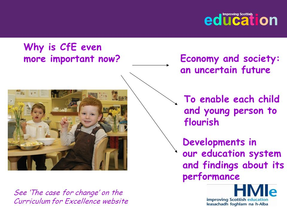 Why is CfE even more important now Economy and society: