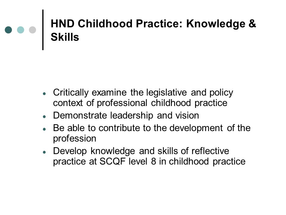 HND Childhood Practice: Knowledge & Skills
