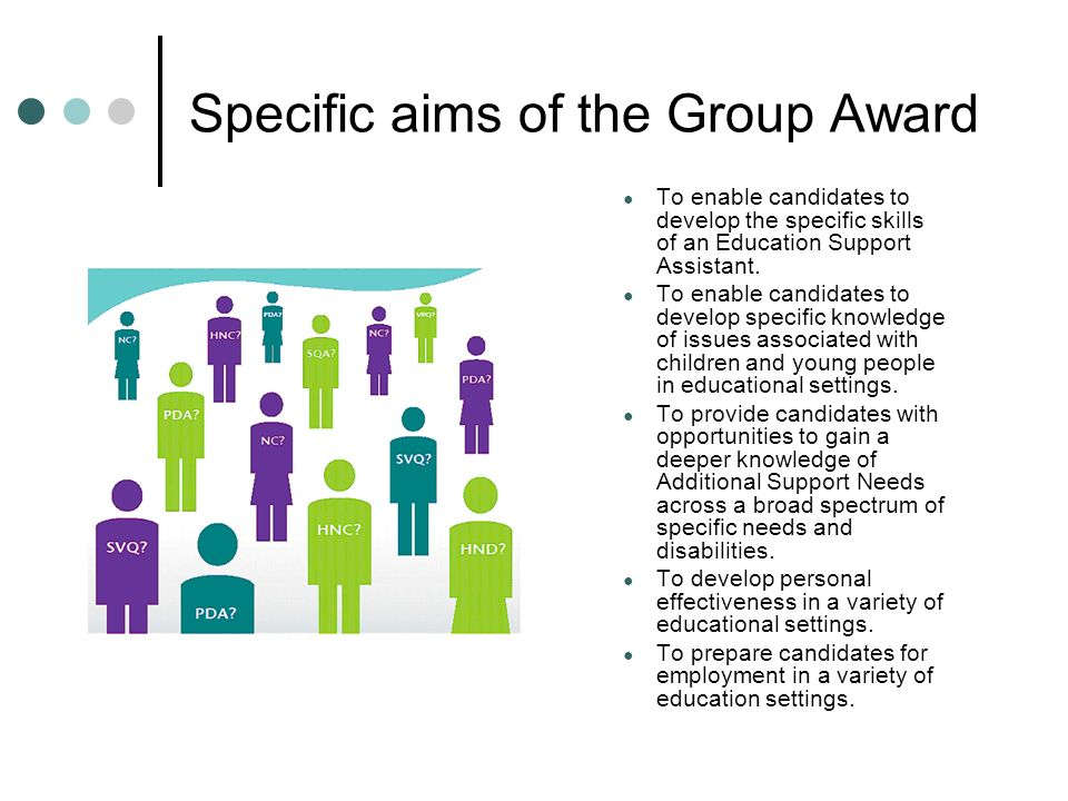 Specific aims of the Group Award