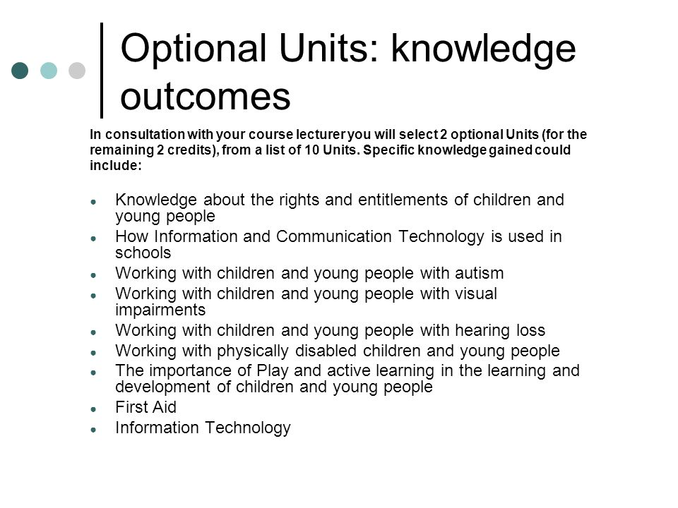 Optional Units: knowledge outcomes