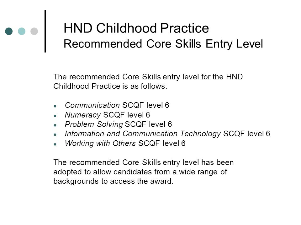 HND Childhood Practice Recommended Core Skills Entry Level