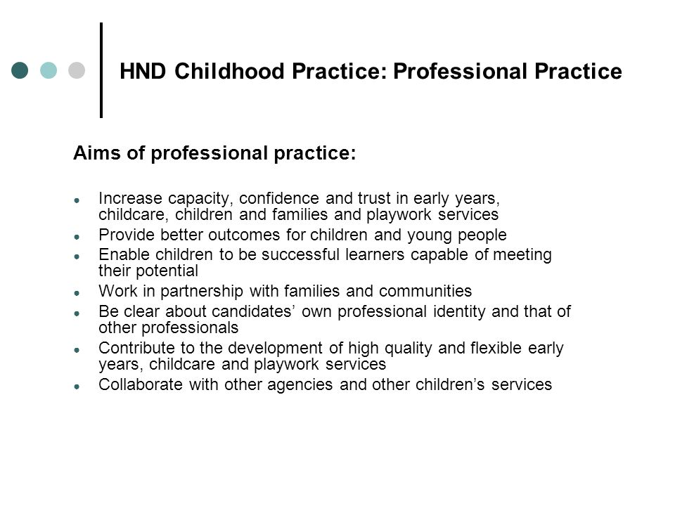 HND Childhood Practice: Professional Practice
