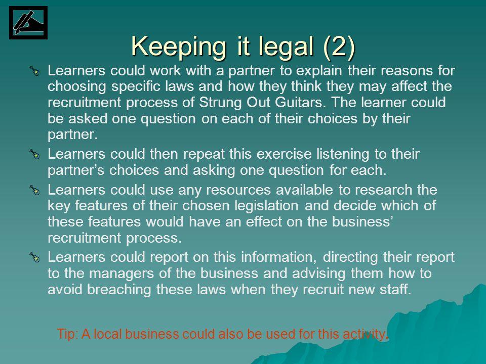 Keeping it legal (2)