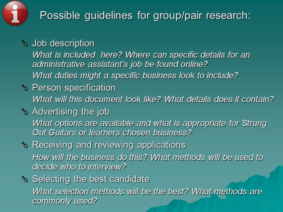 Possible guidelines for group/pair research: