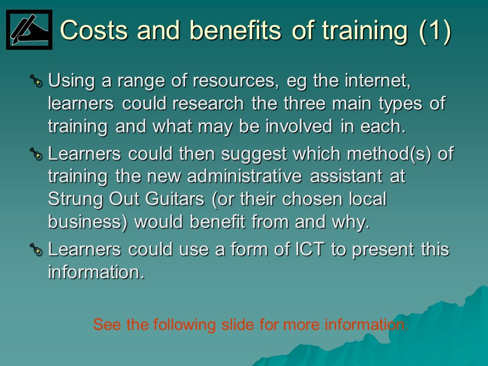 Costs and benefits of training (1)