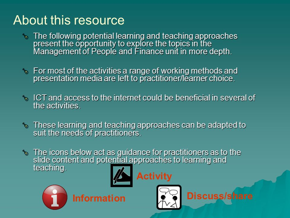 About this resource Activity Discuss/share Information