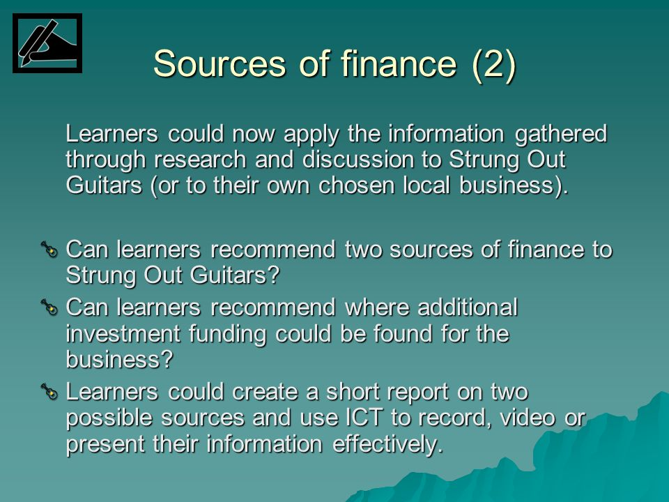 Sources of finance (2)