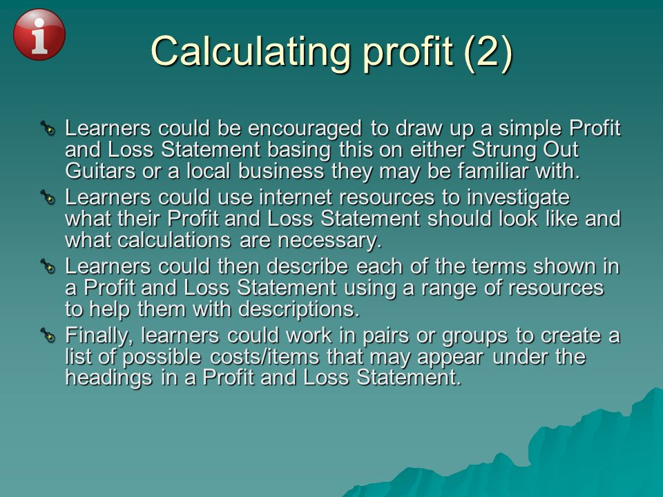 Calculating profit (2)