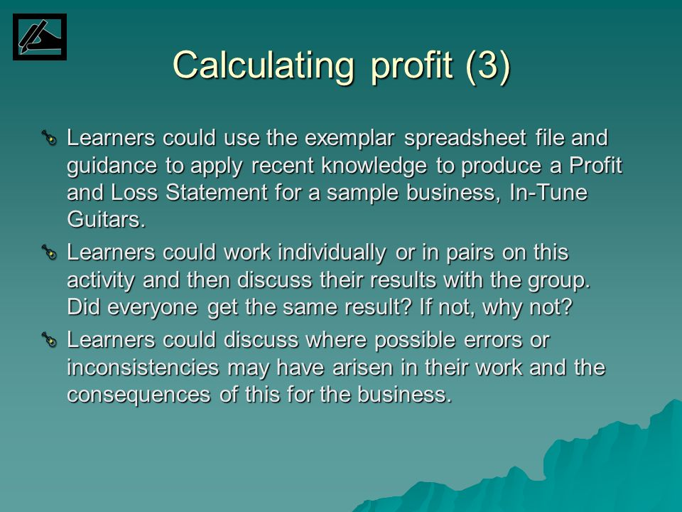 Calculating profit (3)