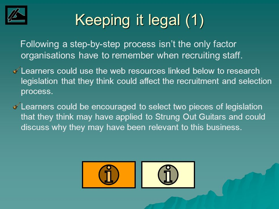 Keeping it legal (1)Following a step-by-step process isn't the only factor organisations have to remember when recruiting staff.