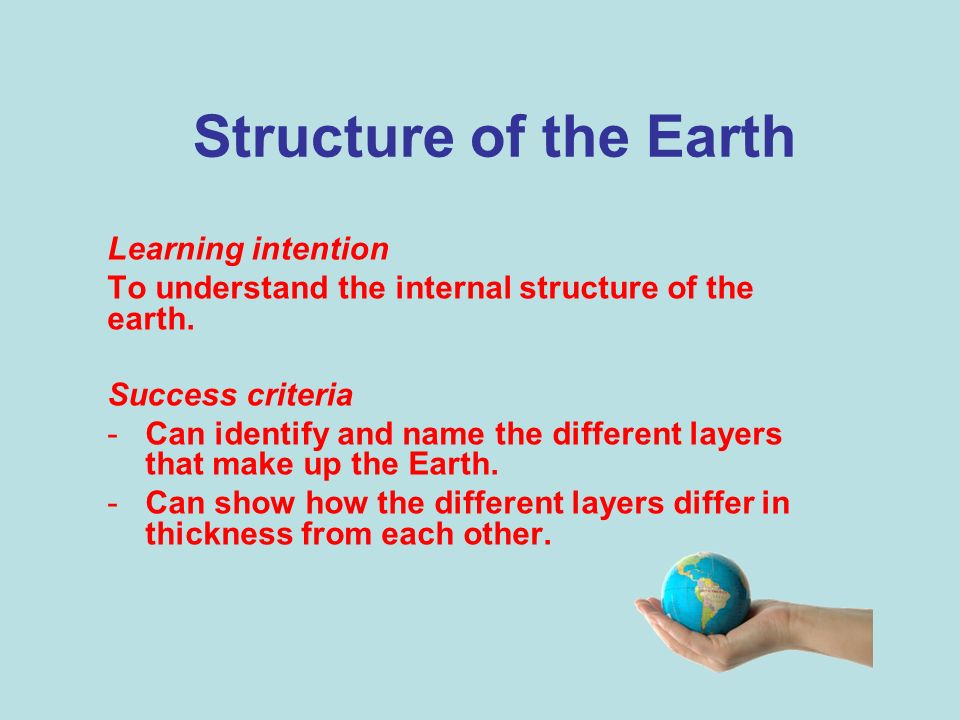 Structure of the Earth Learning intention