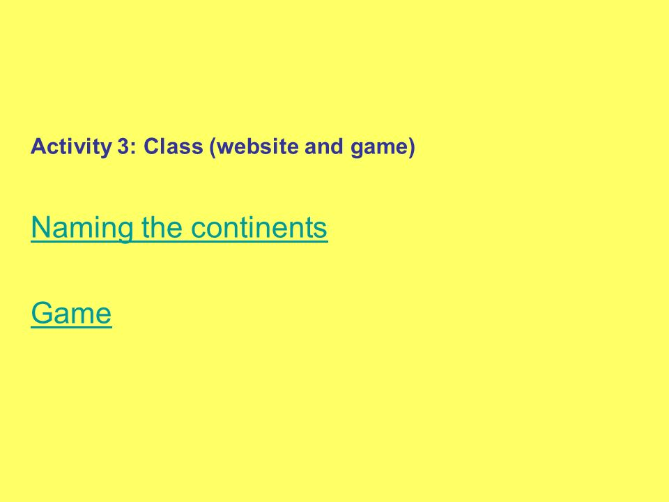 Activity 3: Class (website and game)