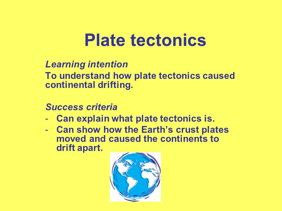 Plate tectonics Learning intention