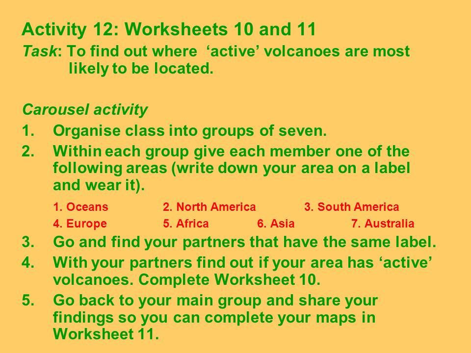 Activity 12: Worksheets 10 and 11