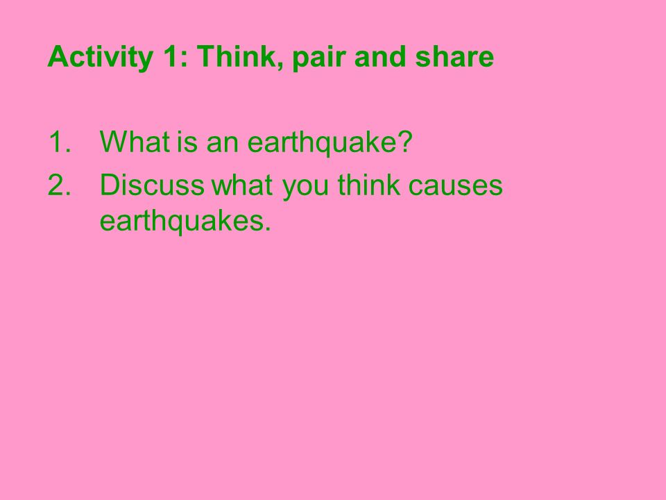 Activity 1: Think, pair and share