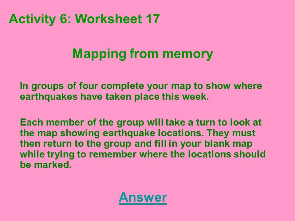 Mapping from memory Answer