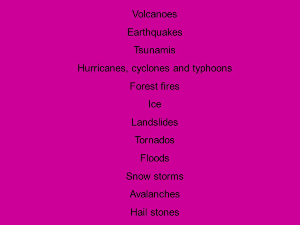 Hurricanes, cyclones and typhoons