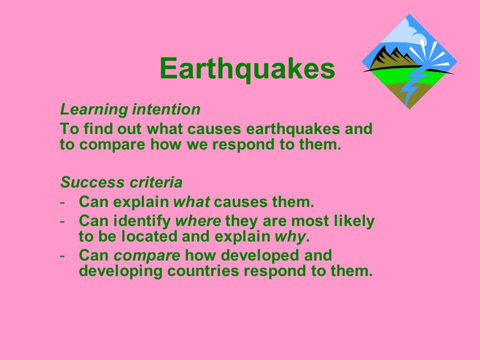 Earthquakes Learning intention