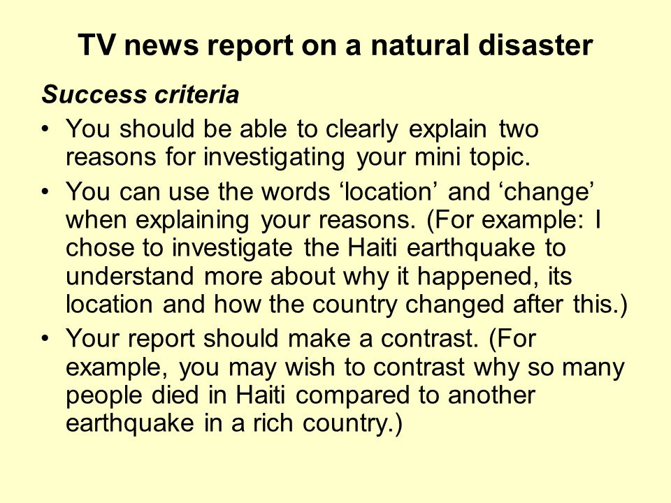 TV news report on a natural disaster