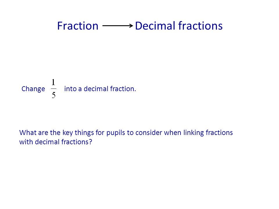 Fraction Decimal fractions