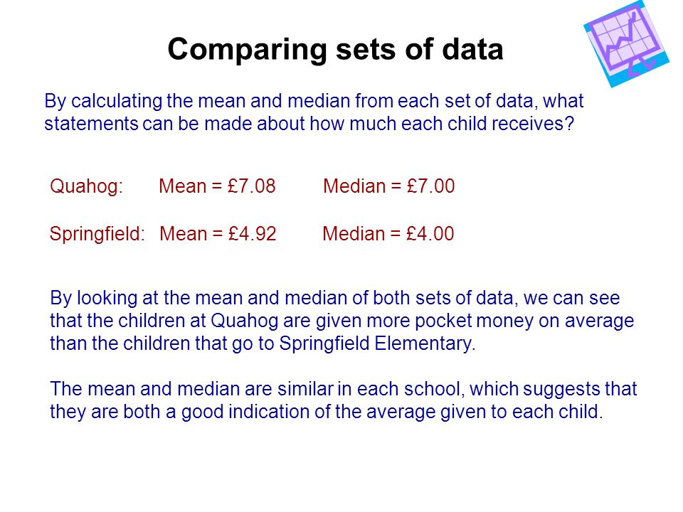 Comparing sets of data By calculating the mean and median from each set of data, what. statements can be made about how much each child receives