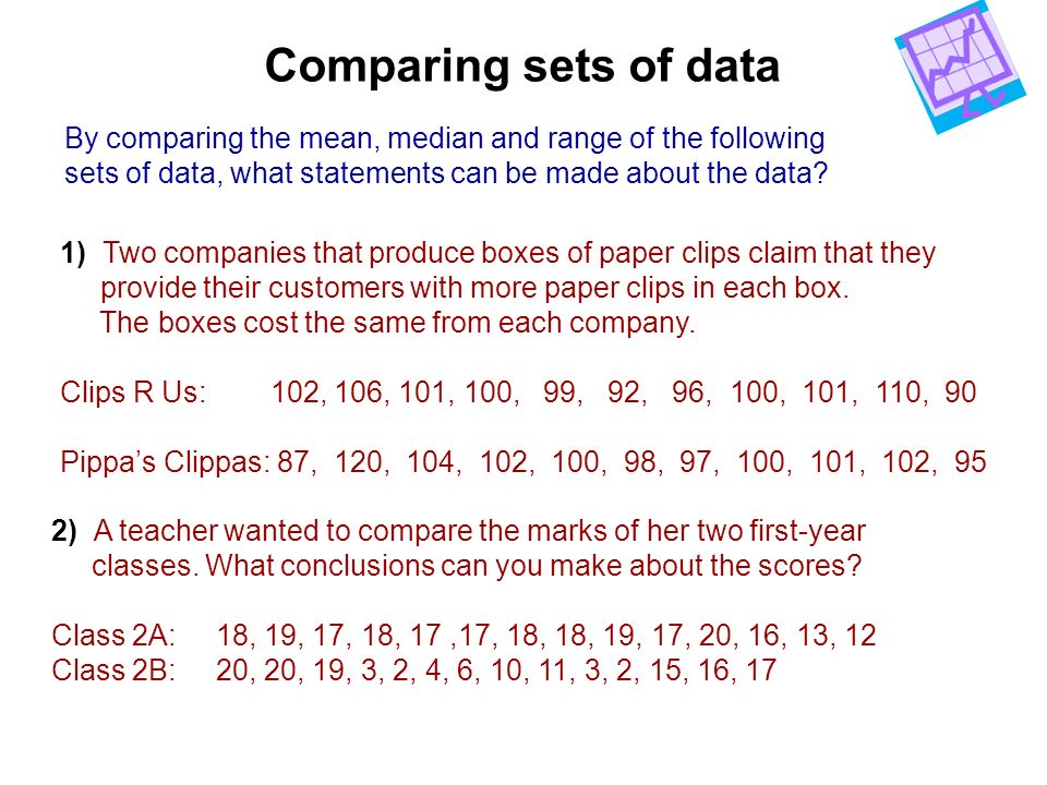 Comparing sets of data By comparing the mean, median and range of the following. sets of data, what statements can be made about the data