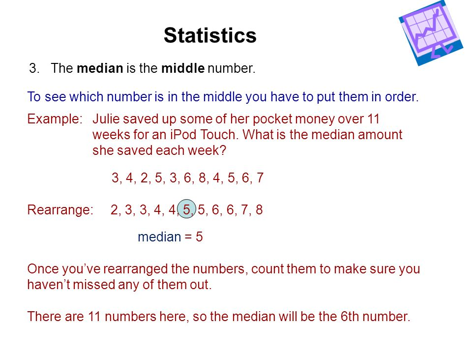Statistics 3. The median is the middle number.