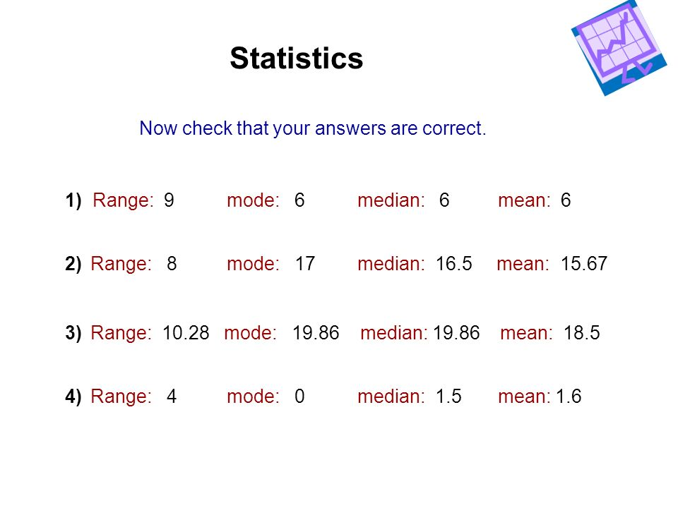 Statistics Now check that your answers are correct.