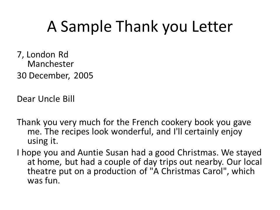 Sample French Christmas Letter. A Sample Thank you Letter Social Interaction  Greetings and Gratitude ppt video online