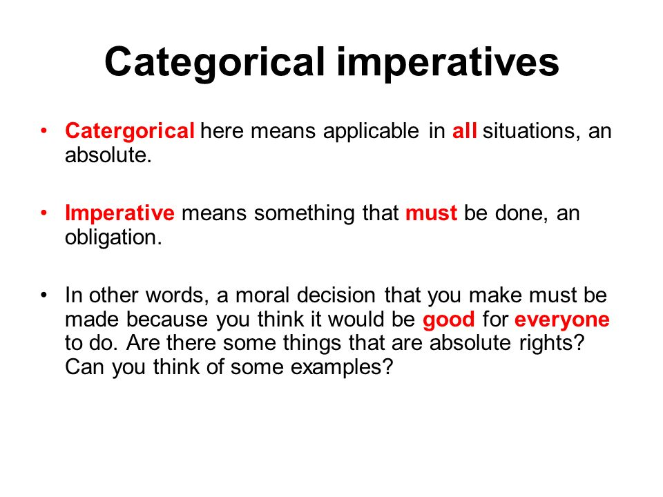 analysis of kants categorical imperative Kant's categorical imperative - free download as word doc (doc / docx), pdf file (pdf), text file (txt) or read online for free.