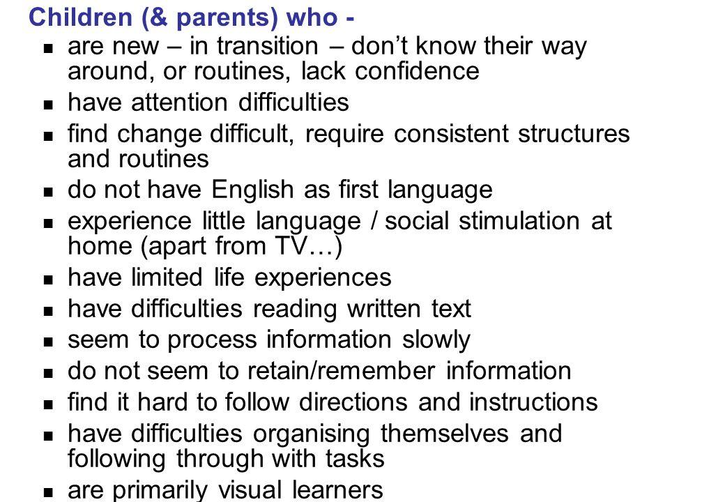 Children (& parents) who -