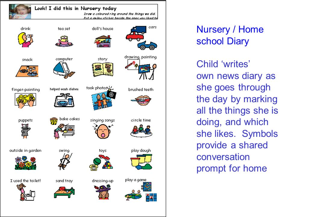 Nursery / Home school Diary Child 'writes' own news diary as she goes through the day by marking all the things she is doing, and which she likes.