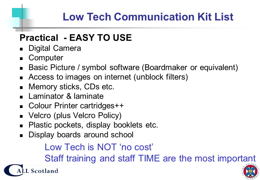 Low Tech Communication Kit List