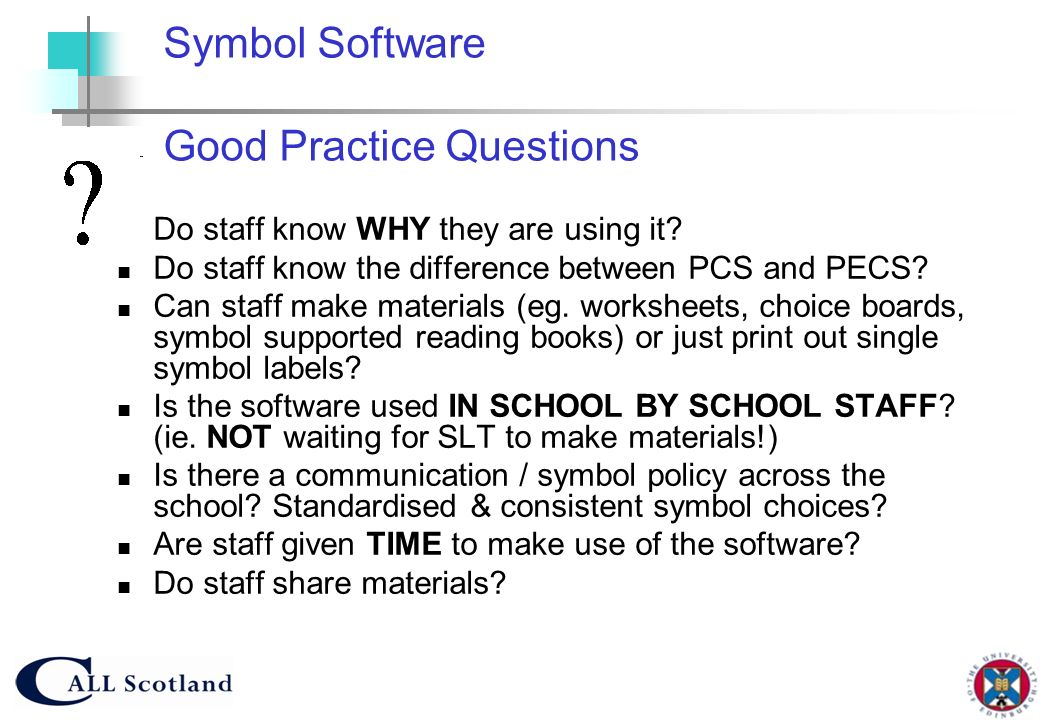 Symbol Software Good Practice Questions