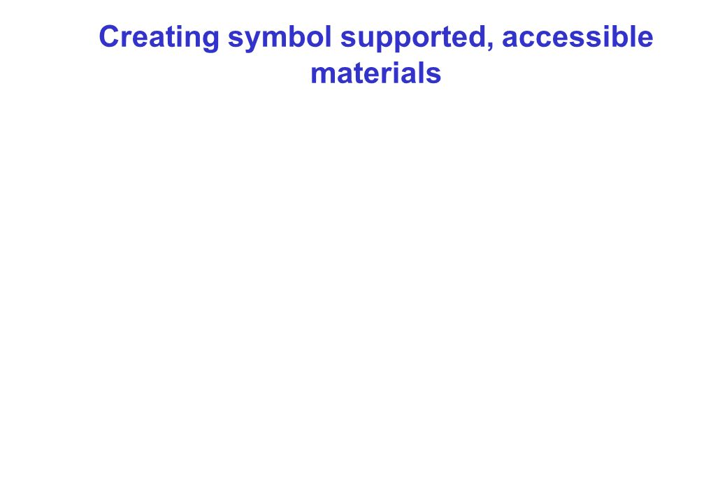 Creating symbol supported, accessible materials