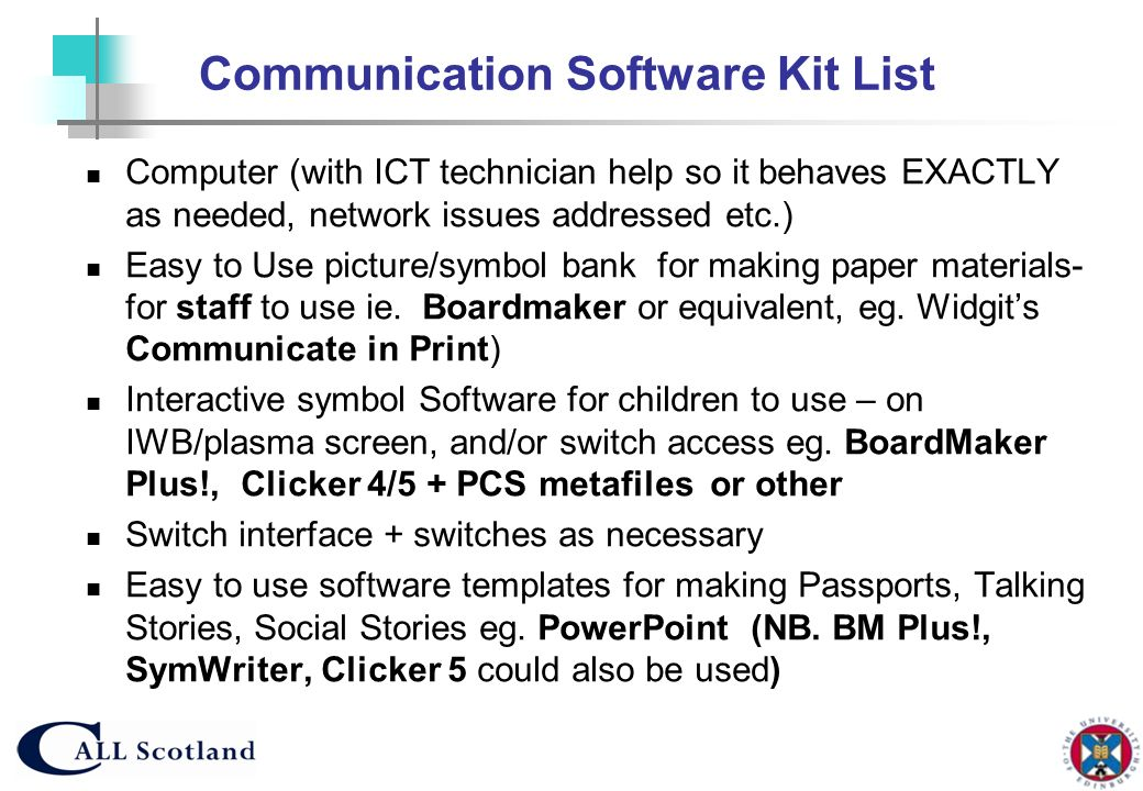 Communication Software Kit List