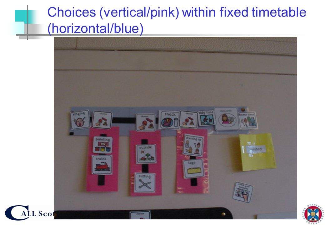 Choices (vertical/pink) within fixed timetable (horizontal/blue)