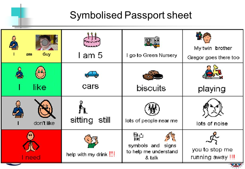 Basic Symbol Passport Symbolised Passport sheet