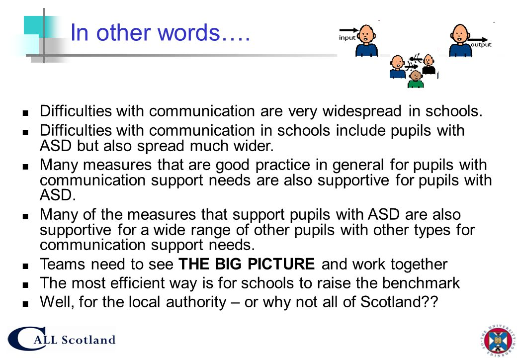 In other words…. Difficulties with communication are very widespread in schools.