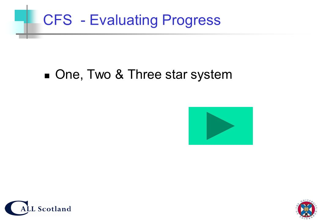 CFS - Evaluating Progress