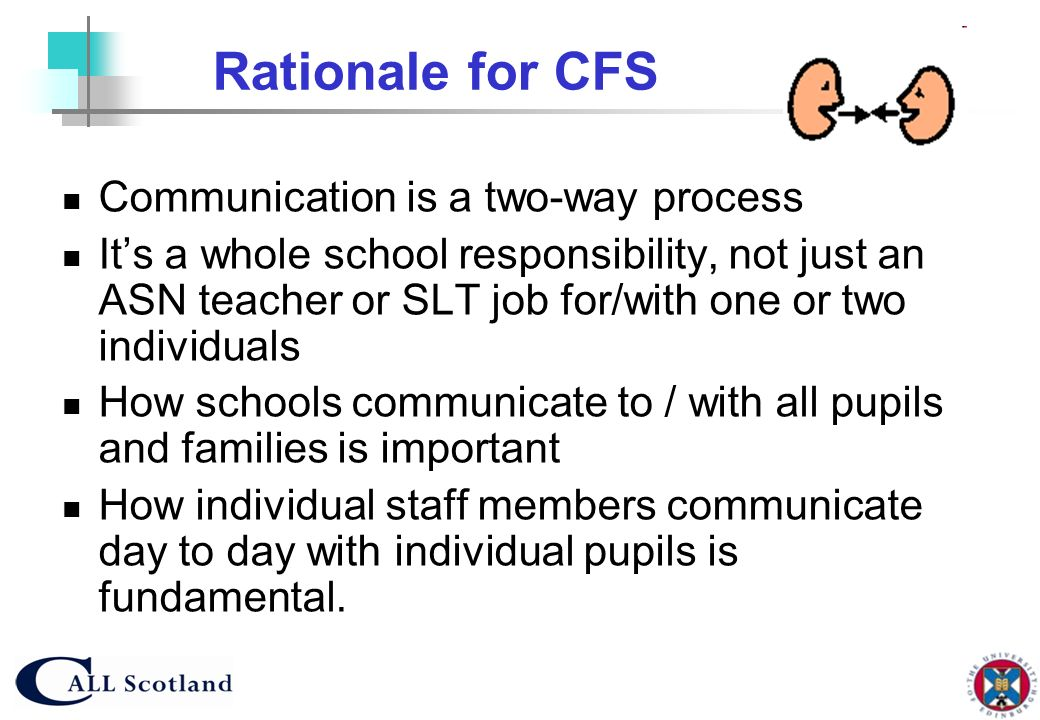 Rationale for CFS Communication is a two-way process