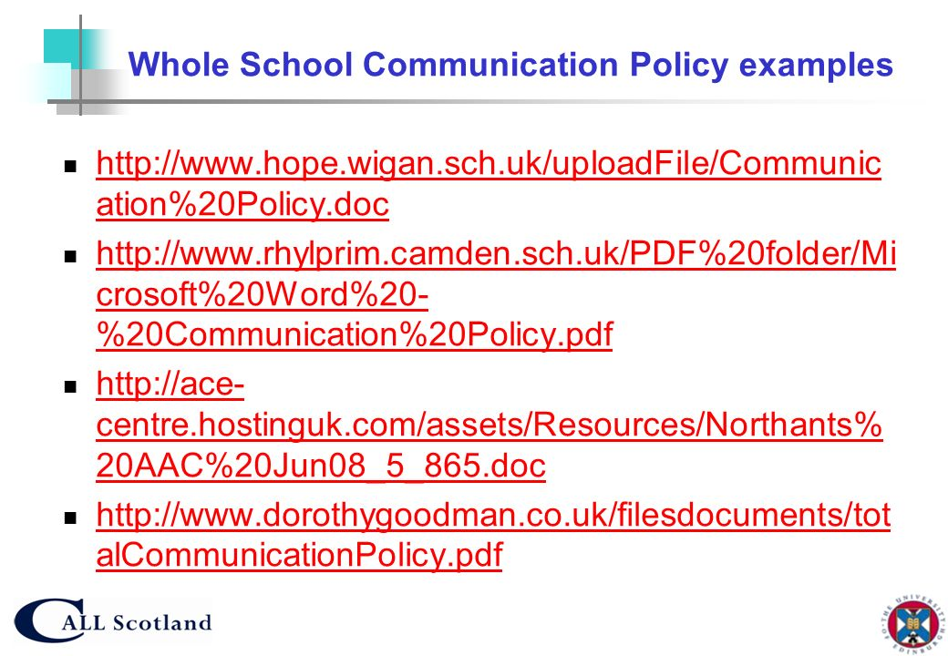 Whole School Communication Policy examples