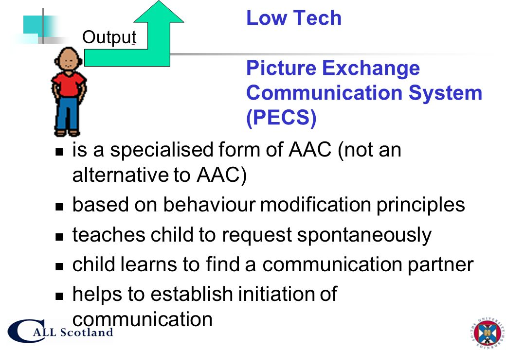 Low Tech Picture Exchange Communication System (PECS)