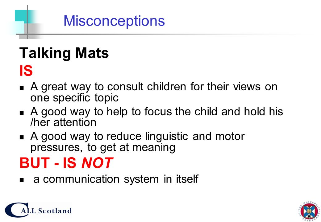 Misconceptions Talking Mats IS BUT - IS NOT