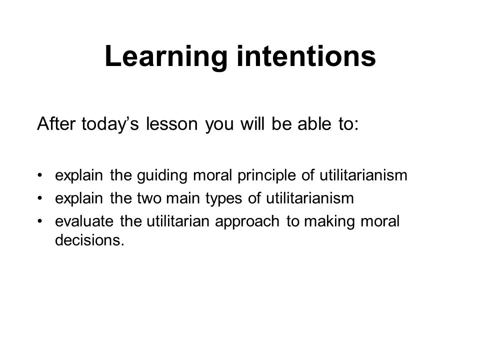 Learning intentions After today's lesson you will be able to: