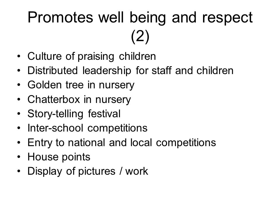 Promotes well being and respect (2)